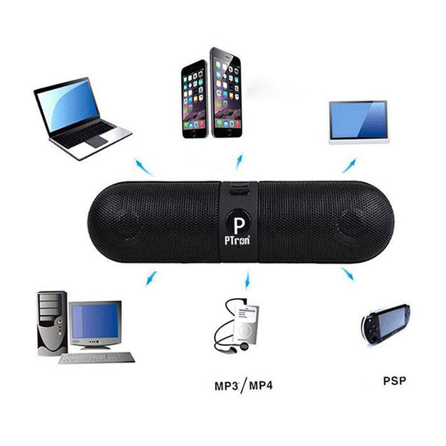 PTron Streak Multifunctional Metal Pill Wireless Bluetooth Speaker for All Smartphones(Black)