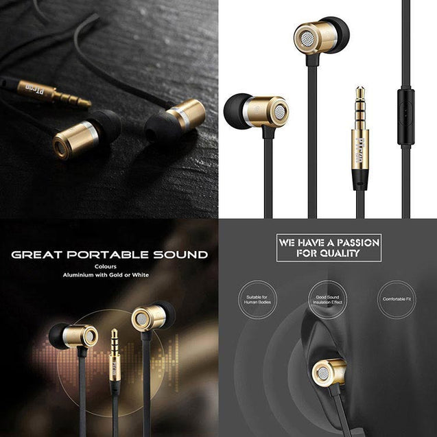 PTron Unison In-Ear Headphone With Noise Cancellation For All Samsung Smartphones (Gold)