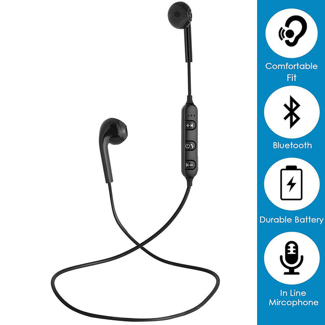 PTron Avento Bluetooth Headphones In-Ear Wireless Headset For Samsung Galaxy J7 Max (Black)