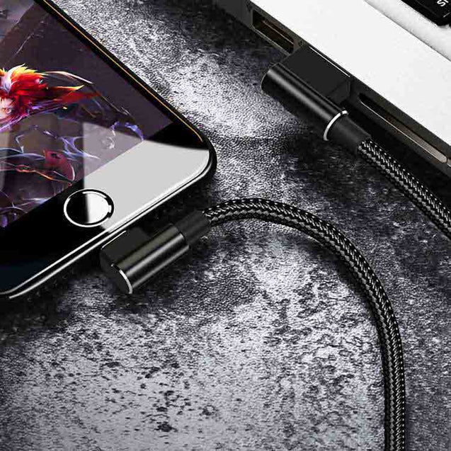 PTron Solero USB Lightning Cable - L Shape Design Sync Data Cable Charger For iOS Smartphones