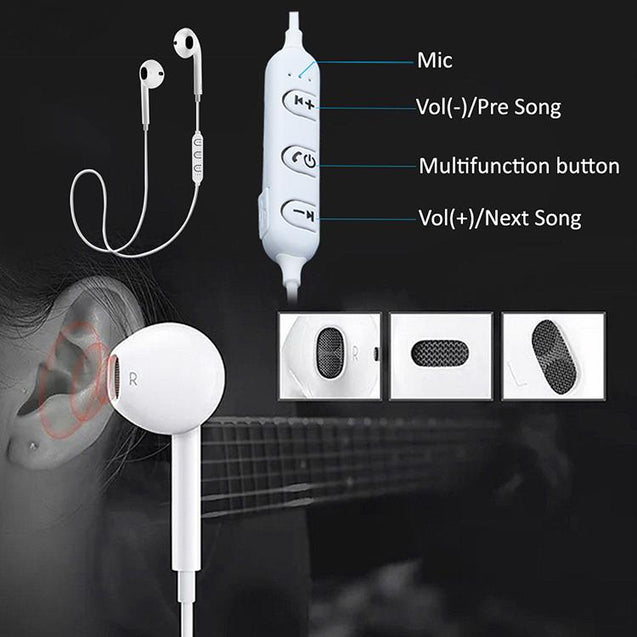 PTron Avento Bluetooth Headphones In-Ear Wireless Earphones With Mic For Oneplus 6T (White)