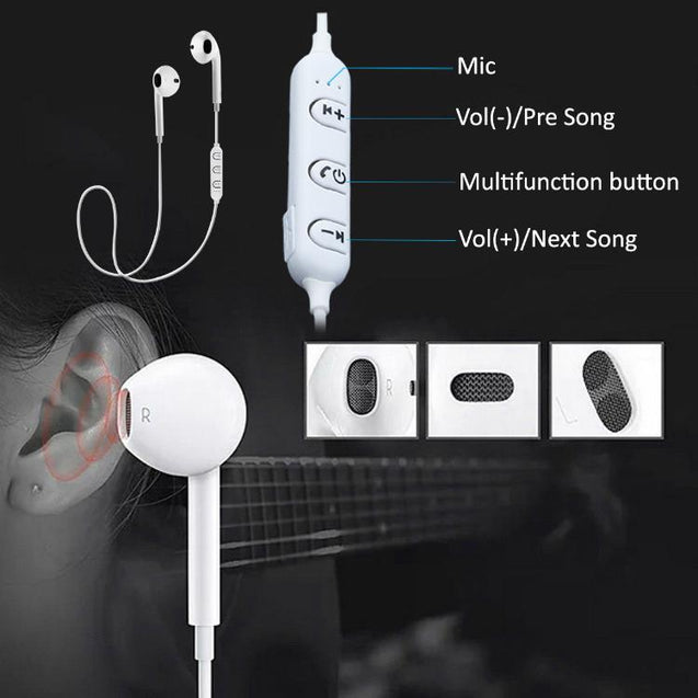 PTron Avento Bluetooth In-Ear Wireless Headphones With Mic For Vivo V5 / Vivo V5 Plus (White)
