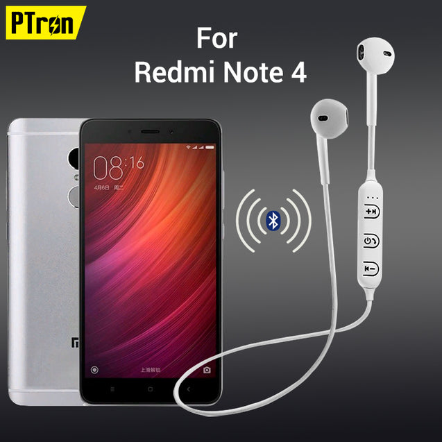 PTron Avento Bluetooth Headphones In-Ear Wireless Earphones With Mic For Xiaomi Redmi Note 4 (White)