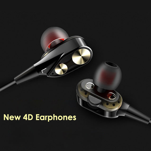 PTron Boom Evo 4D Earphone Deep Bass Stereo Sport Wired Headphone For Vivo Y17 (Black/Gold)