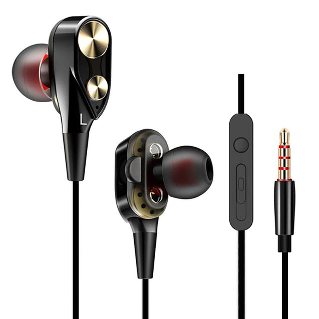 PTron Boom Evo 4D Headphones Deep Bass Stereo Wired Headset For Redmi 7S (Black/Gold)