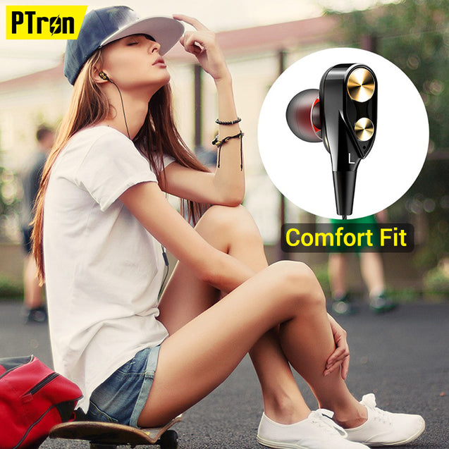 pTron Boom Evo 4D Deep Bass Sport Wired Headphone For All Samsung A Series Smart Phones (Black/Gold)