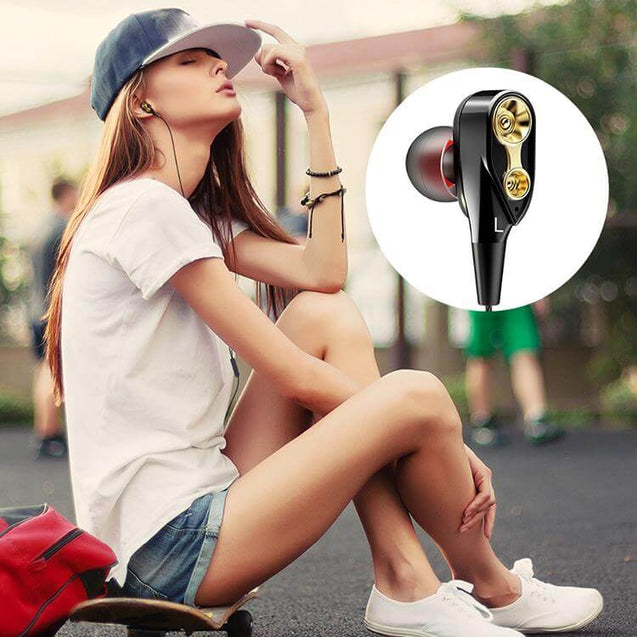 PTron Boom 2 4D Earphone Deep Bass Stereo Sport Wired Headphone For Huawei Honor 9 Lite (Black/Gold)