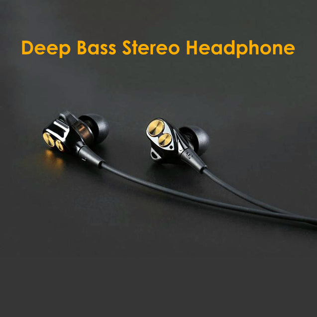 PTron Boom Evo 4D Earphone Deep Bass Stereo Sport Wired Headphone For Realme 2/ 2 Pro (Black/Gold)