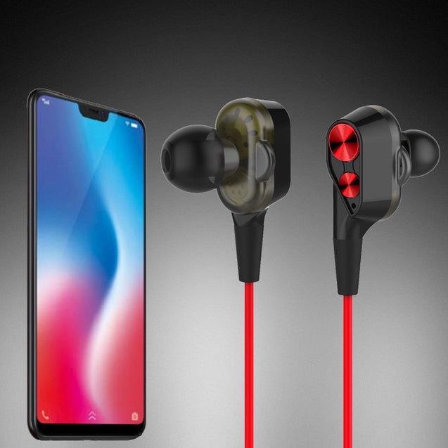 Boom Evo 4D Earphone Deep Bass Stereo Wired Headphone With Mic For Vivo V11 Pro (Black/Red)