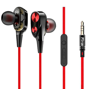 PTron Boom Evo 4D Earphone Deep Bass Stereo Wired Headphone With Mic For All Smartphones (Black/Red)