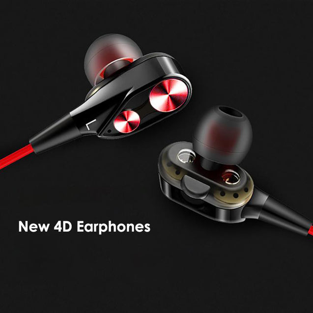 PTron Boom Evo 4D Earphone Deep Bass Stereo Wired Headphone For All Tecno Smartphones (Black/Red)