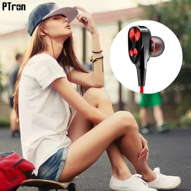 PTron Boom  Evo 4D Headphones Deep Bass Stereo Wired Headset All Oneplus Devices (Black/Red)