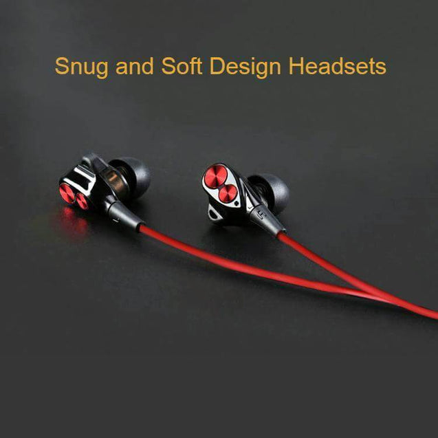 PTron Boom Evo 4D Earphone Deep Bass Stereo Sport Wired Headphone  For Samsung Galaxy M20 (Black/Red)