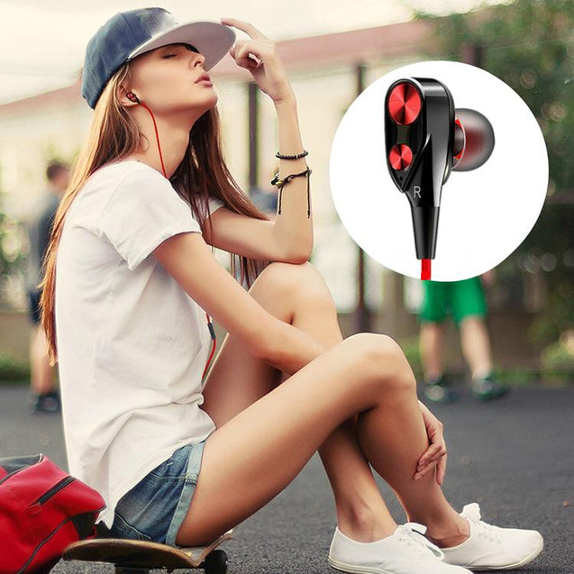 PTron Boom Evo 4D Headphones Deep Bass Stereo Wired Headset For Oppo F7 (Black/Red)