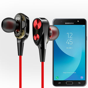 PTron Boom 2 4D Earphone Deep Bass Stereo Sport Wired Headphone  For  Samsung Galaxy J7 Prime (Black/Red)