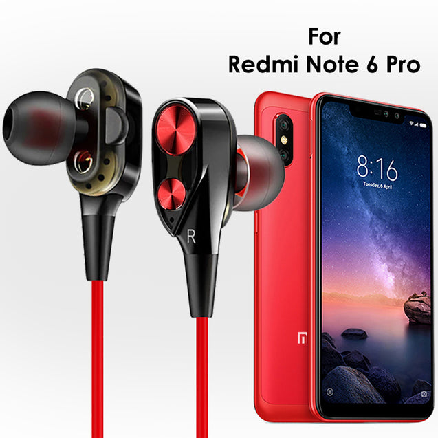 pTron Boom Evo 4D Earphone Deep Bass Stereo Wired Headphones For Xiaomi Redmi Note 6 Pro (Black/Red)