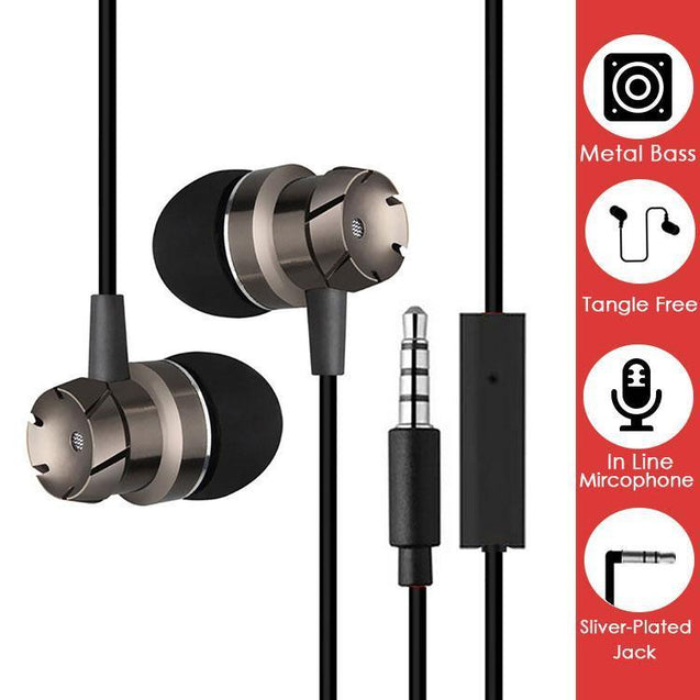 pTron HBE6 Metal In-Ear Stereo Earphones with Mic For All Smartphones, Computer/Laptop - (Black)