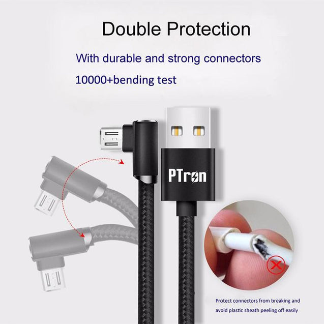 PTron Solero Lite 2A Data Cable L Shape Design Charging Cable For All Android Smartphones (Black)