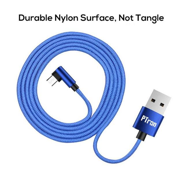 PTron Solero Lite 2A Data Cable L Shape Charging Cable For Android Smartphones (Blue)
