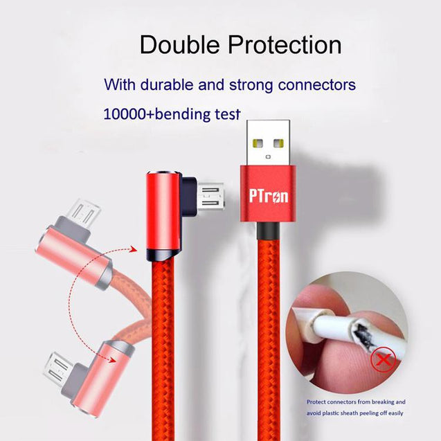 PTron Solero Lite 2A Data Cable L Shape Charging Cable For Android Smartphones (Red)