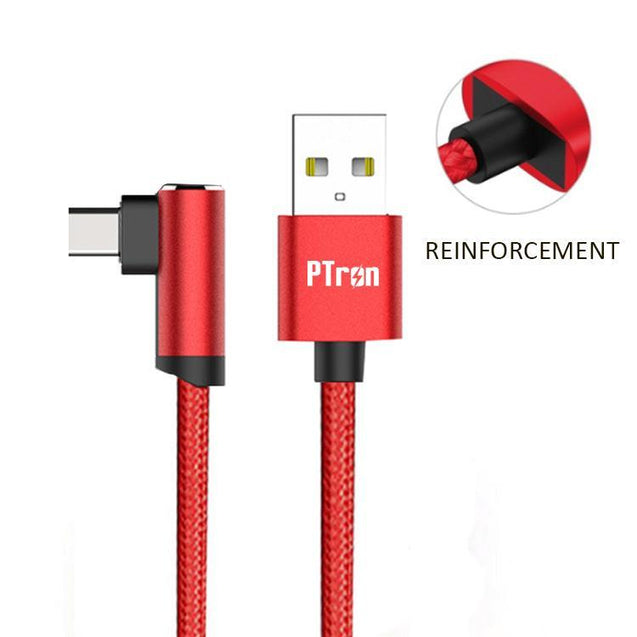 PTron Solero Lite 2A USB Data Cable L Shape Charging Cable For All Type C Compatible Smartphones Red