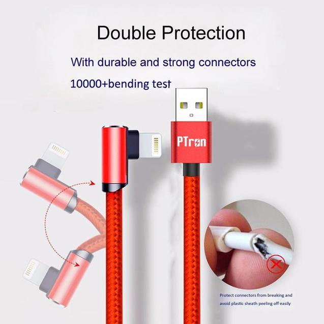 PTron Solero Lite 2A Lightning USB Data Cable L Shape Charging Cable For IOS Smartphones (Red)