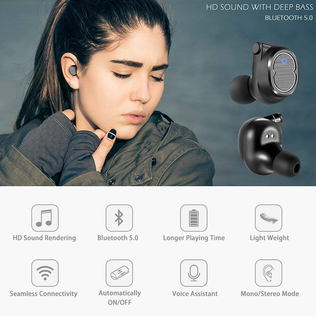 PTron Spunk Bluetooth Headphones Tws Mini Earbuds With Powercase For All Smartphones (Black)