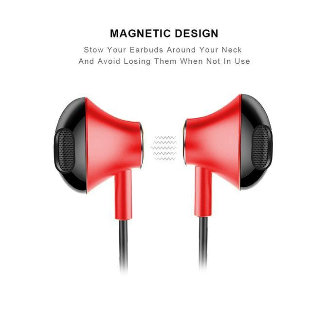 PTron InTunes Pro Magnetic Bluetooth Earphones With Mic For Vivo V15 (Red/Black)