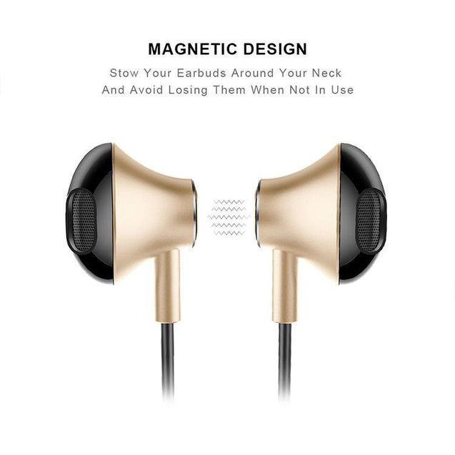 PTron InTunes Pro Magnetic Bluetooth Earphones With Mic For All Smartphones (Gold/Black)