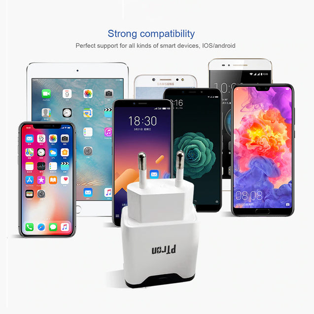 PTron Volta 2.4A Dual USB Ports Fast Charging Travel Adapter for All Smartphones (White)