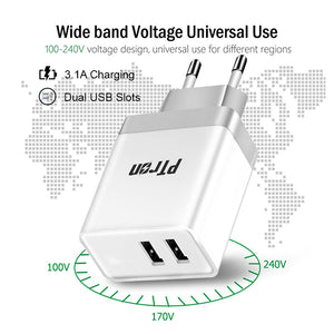 PTron Volta 3.1A Dual USB Slot Fast Charging Travel Adapter for All Smartphones (White)