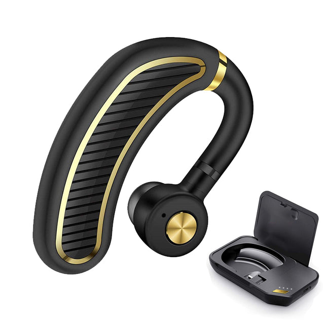 PTron Eleganto Bluetooth v5.0 CSR Chip Earphones with Charging Case All Smartphones (Black/Gold)