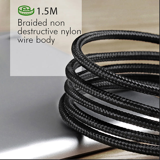 PTron Solero Pro 2.1A Fast Charging 90 Degree Nylon Braided 1.5M Type C USB Cable - Black/Silver