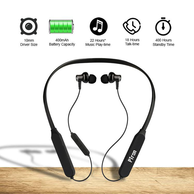 pTron Zap In-Ear High Bass Bluetooth Earphones with Mic for All Smartphones & Tablets - (Black)