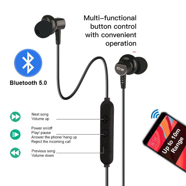 PTron Zap In-Ear Bluetooth Earphones Magnetic Deep Bass Neckband with Mic for All Smartphones (Black)