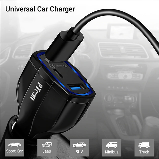 PTron Bullet Pro Quick Charge 3.0, 36W, 3 Port USB Smart Car Charger for All Smartphones (Black)
