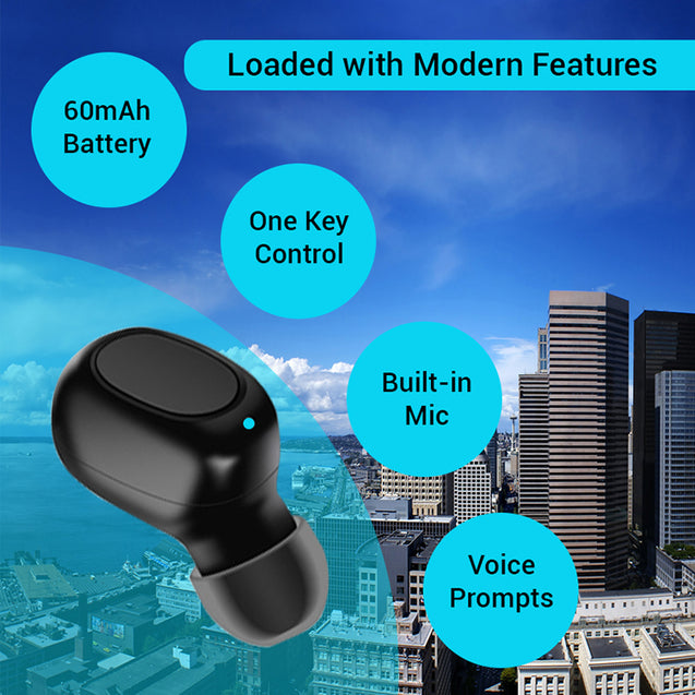 pTron Atom Bluetooth 5.0 Mono Headset with 180mAh Charging Case, Airpod All Smartphones - (Black)