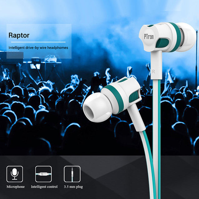 pTron HBE5 Raptor Stereo Sound Bass Wired Headphones with Mic (White & Blue)
