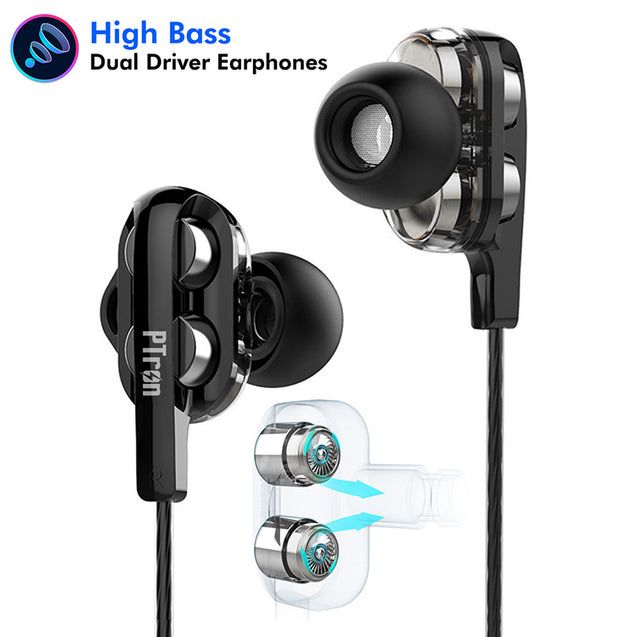 PTron Boom 3 4D Deep Bass Stereo Earphones Dual Driver Sports Headset With Mic For Redmi Note 6 Pro