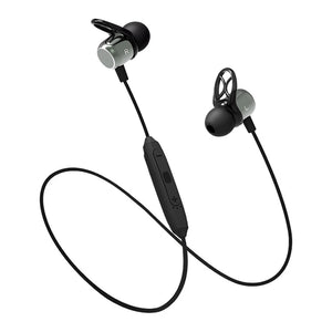 pTron Avento Plus Bluetooth 5.0 Magnetic Stereo Headphones for All Smartphones - (Grey/Black)