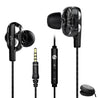 pTron Boom Pro 4D Deep Bass Dual Driver Wired Earphones with Mic for All Smartphones - (Black)