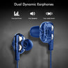 pTron Boom Pro Dual Driver In-Ear Stereo Sound Wired Headset with Mic - (Dark Blue)