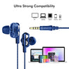 pTron Boom Pro Dual Driver In-Ear Stereo Sound Wired Headset with Mic For Vivo Z1 Pro - (Dark Blue)