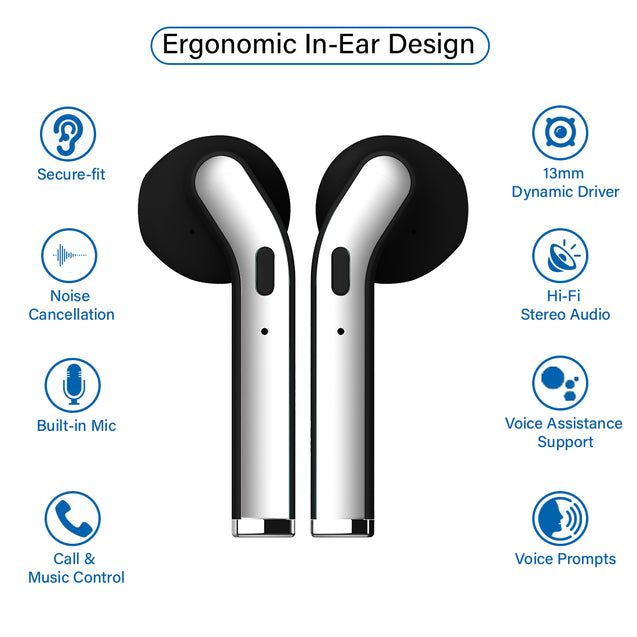 pTron Bassbuds Classic Hi-Fi True Wireless Stereo Earbuds & Mic For All Samsung smartphones - (Black)