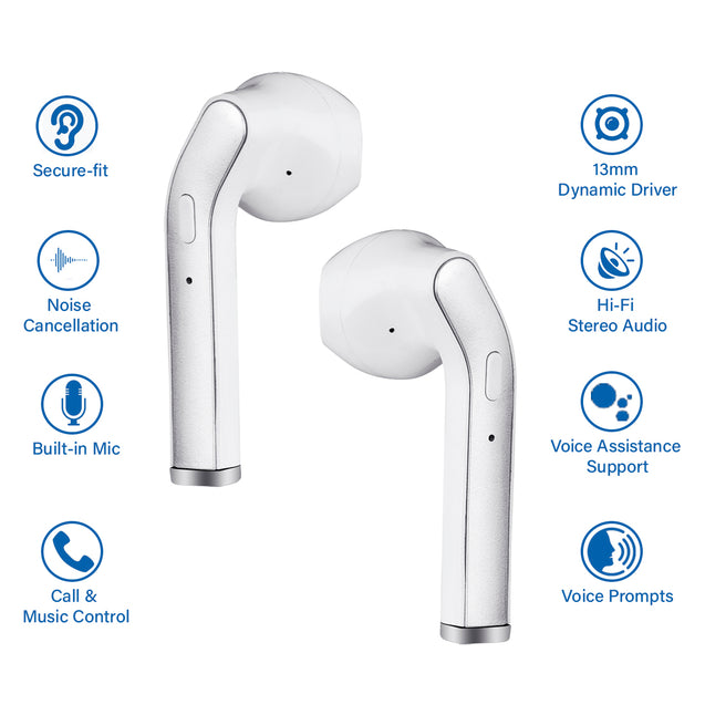 pTron Bassbuds Classic Hi-Fi True Wireless Stereo Earbuds & Mic For All Redmi Smartphones - (White)