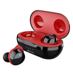 pTron Bassbuds Evo True Wireless Stereo Earphones, 12Hrs Playback with Case & Mic - Black/Red