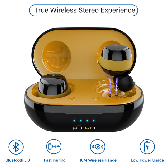 pTron Bassbuds Evo True Wireless Stereo Earphones, 12Hrs Playback with Case & Mic - Black/Yellow