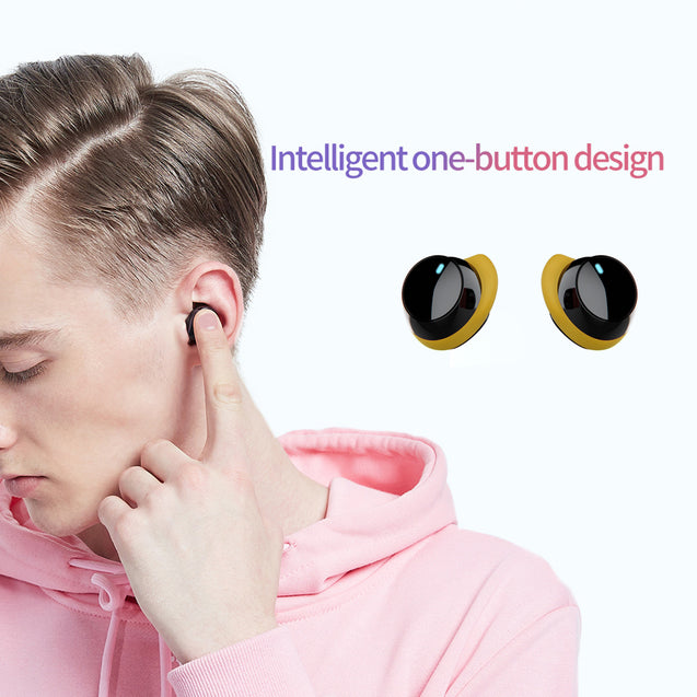pTron Bassbuds Evo True Wireless Stereo Earbuds, 12Hrs Playback with Case & Mic - Black/Yellow