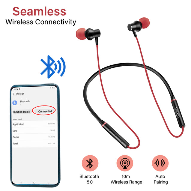 pTron InTunes Beats In-Ear Magnetic Stereo Wireless Neckband with Mic  For All Redmi Smartphones- (Black/Red)
