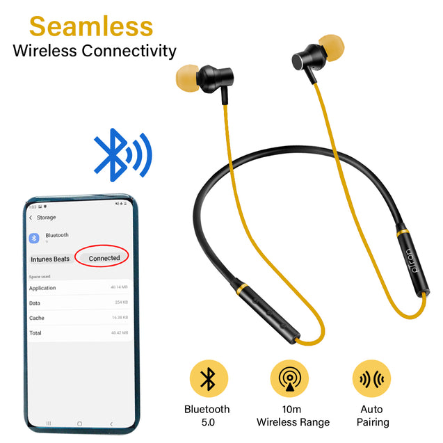 pTron InTunes Beats In-Ear Magnetic Stereo Wireless Neckband with Mic - (Black/Yellow)